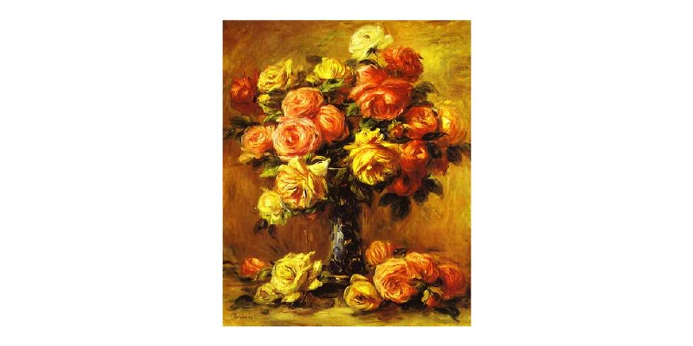 Paint it like Renoir. Roses in a vase.
