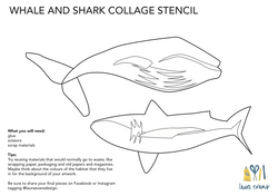Shark and Whale Collage Stencil