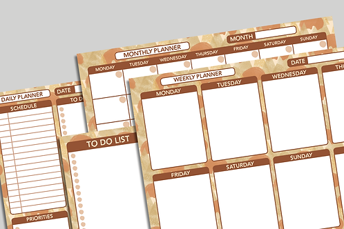 Orange Pattern - Printable Planners and To Do List - Patterned Flexible Planners