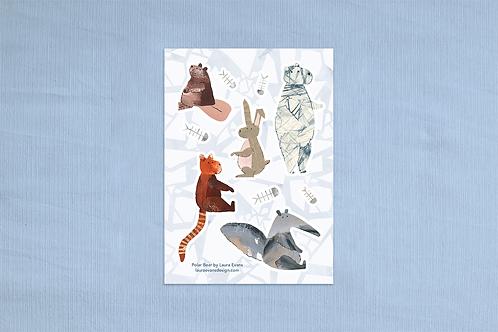 Polar Bear Character Sticker Sheet