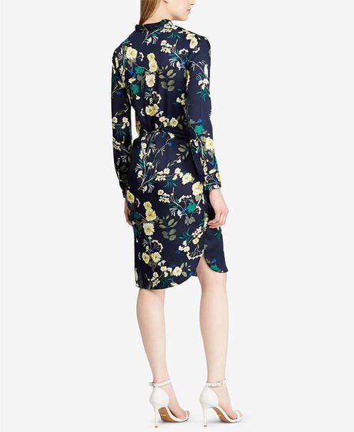 d198e68a3c0 A vibrant floral print enlivens this twill shirtdress from Lauren Ralph  Lauren