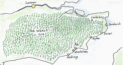 Historical map of the Weald