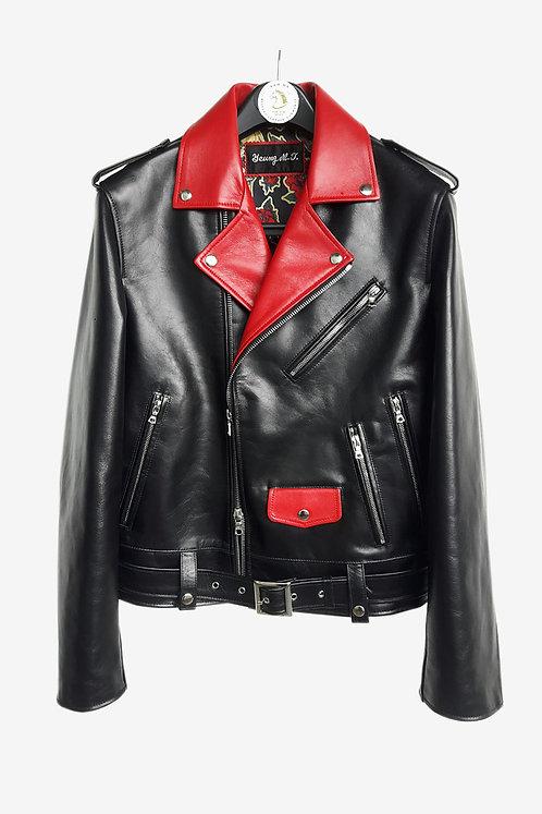 Bespoke Black and Red Biker Leather Jacket