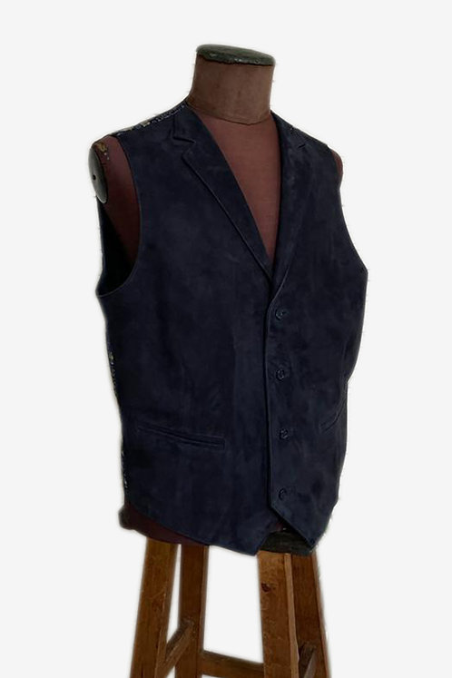 Bespoke Navy Lamb Suede Leather Vest with Brocade