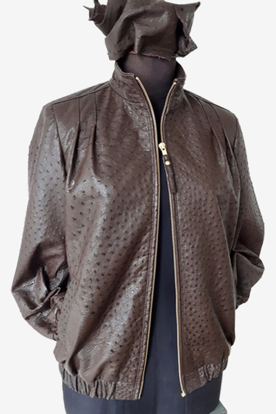 South Africa Brown Ostrich Leather Jacket