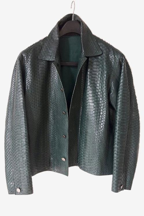 Bespoke Emerald Python Leather Jacket