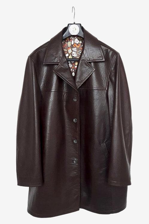 Bespoke Burgundy Fancy Leather Half Coat