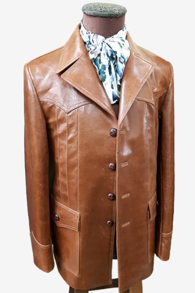 Brown Leather Long Blazer Jacket