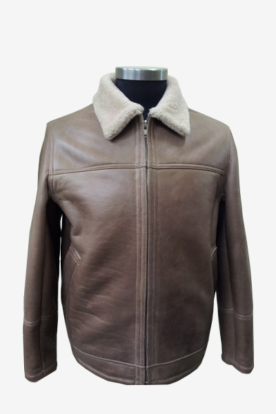 Brown Leather Aviator Jacket with Borg Collar