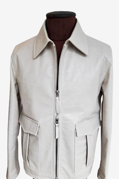 Pearly White Leather Aviator Jacket