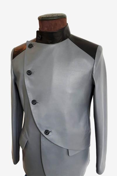Grey and Black Lambskin Special Blazer