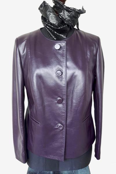 Collarless Purple Lambskin Jacket