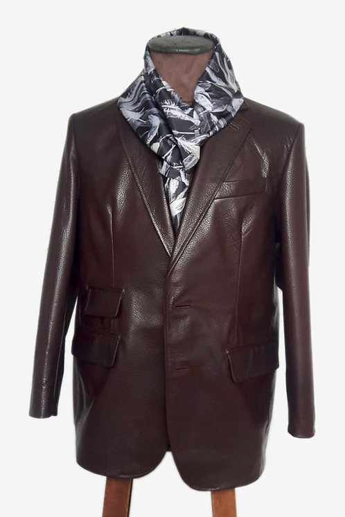Bespoke Brown Fancy Leather Blazer