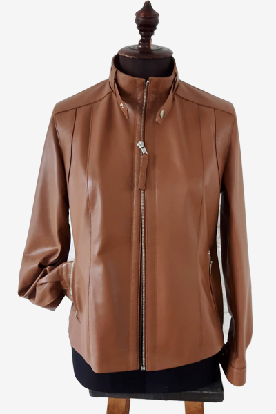 Brown Lambskin Leather Racer Jacket