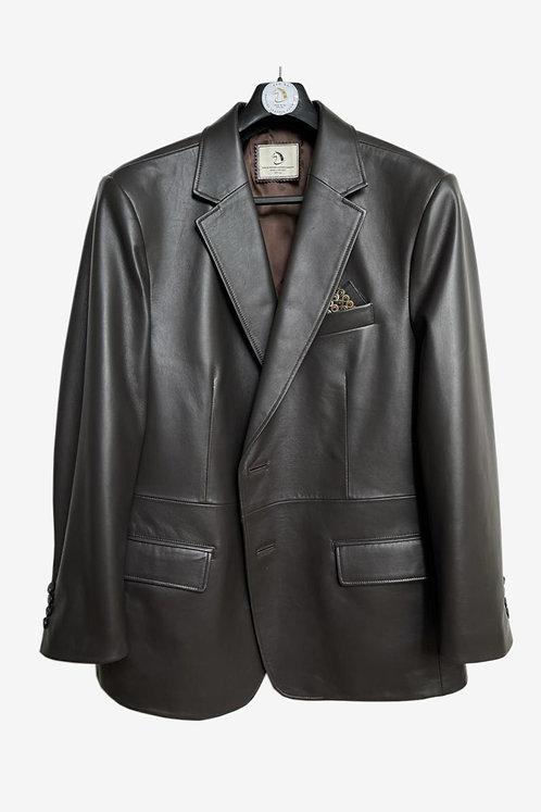 Bespoke Black Leather Blazer Jacket