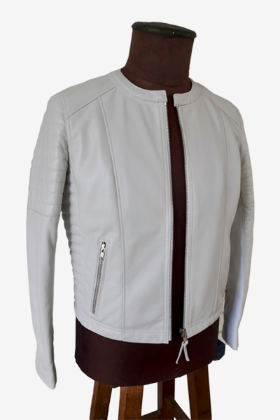 White Racer Jacket with Padded Sleeves and Waist