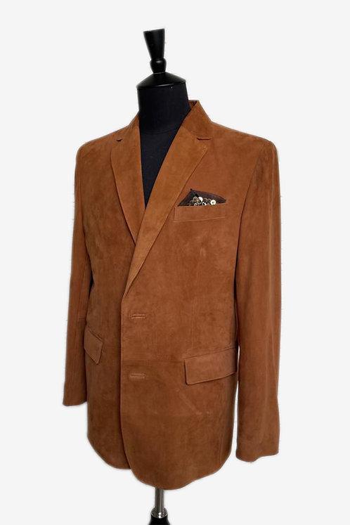 Bespoke Brown Lamb Suede Leather Blazer Jacket