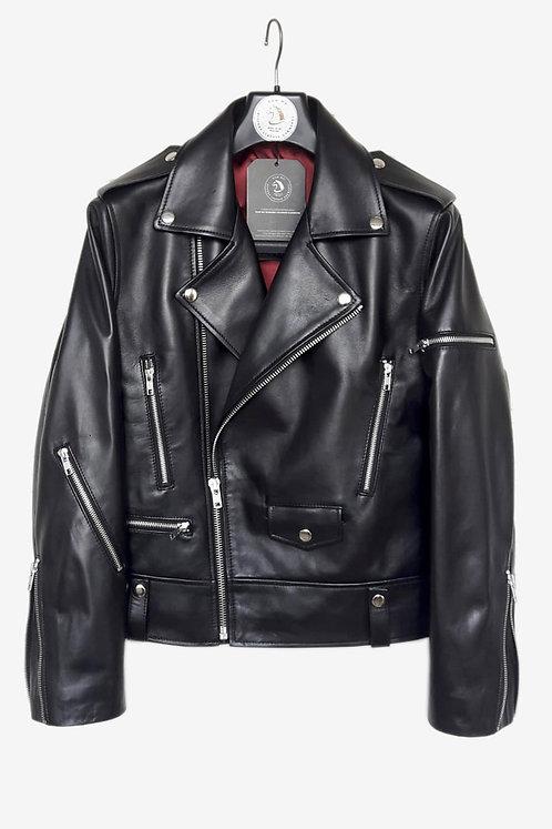 Bespoke Black Lambskin Leather Biker Jacket with Fasteners