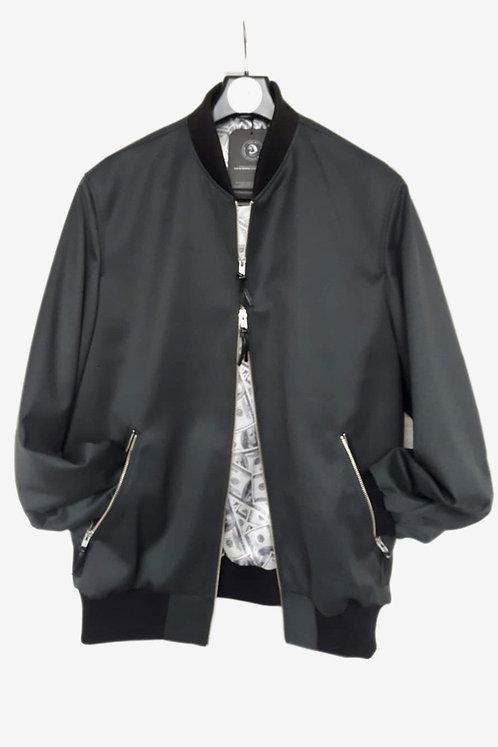 Bespoke Dark Grey Brocade Bomber Jacket