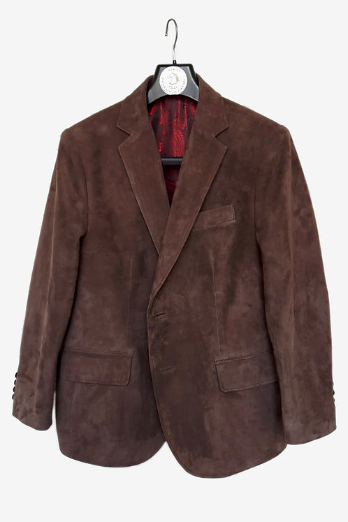 Bespoke Brown Lamb Suede Blazer with Red Lining