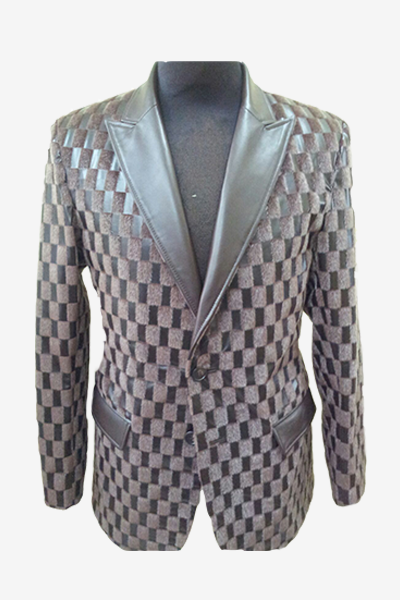 Grey Checked Leather Blazer