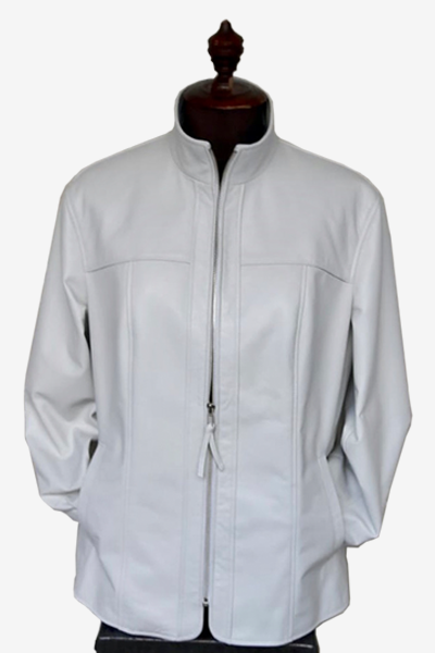 White Lambskin Bespoke Leather Jacket with Rose Red Lining