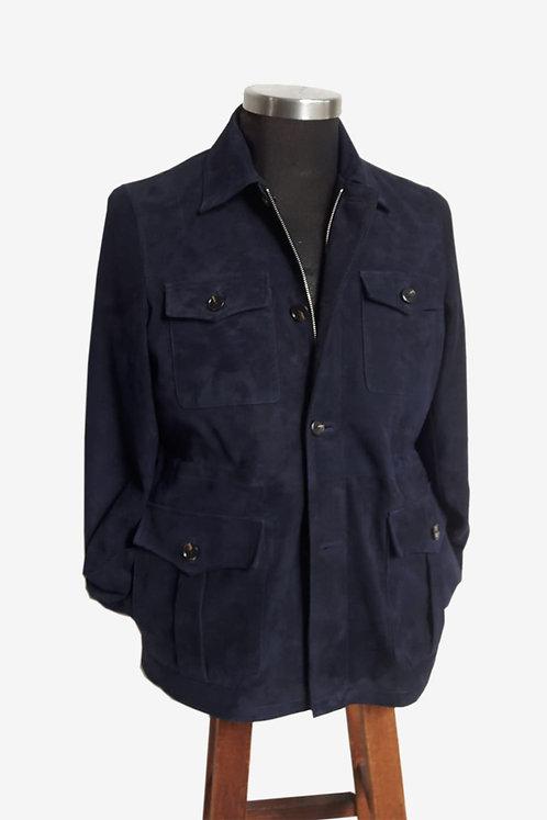 Bespoke Men's Blue Lamb Suede Safari Jacket