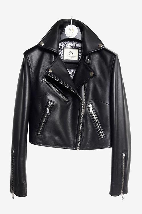 Bespoke Italian Lambskin Leather Short Biker Jacket