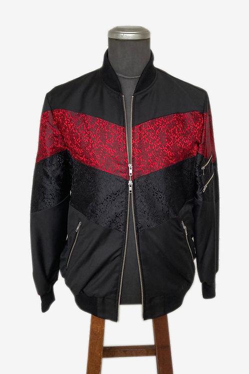 Bespoke Brocade and Italian Cotton Crossover Bomber Jacket