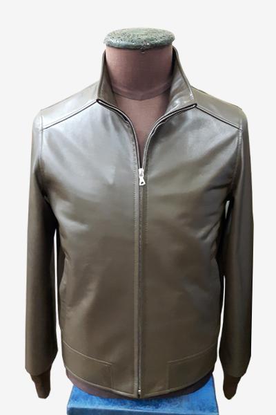Brown Leather Blouson Jacket