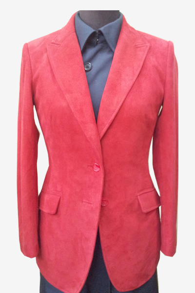 Red Suede Leather Blazer