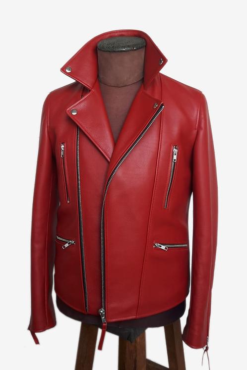 Bespoke Red Italian Cowhide Leather Biker Jacket