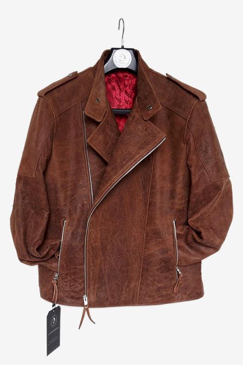 Bespoke Brown Burst Crack Leather Biker Jacket with Fasteners