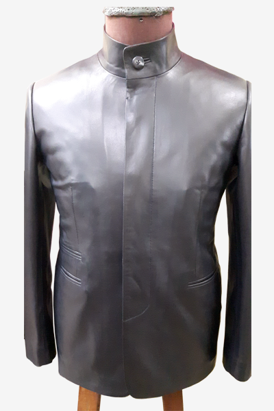 Black Leather Blazer with Stand Collar
