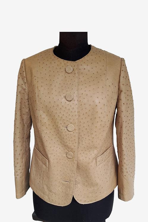 Bespoke Beige Ostrich Leather Jacket