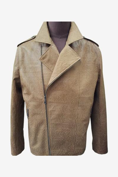 Brown Biker Python Leather Jacket