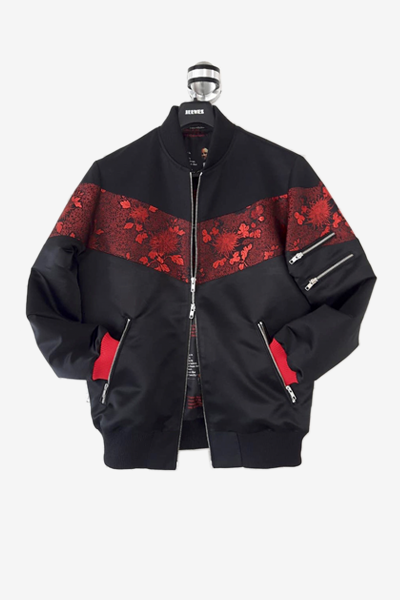 Black and Red Brocade Bomber Jacket