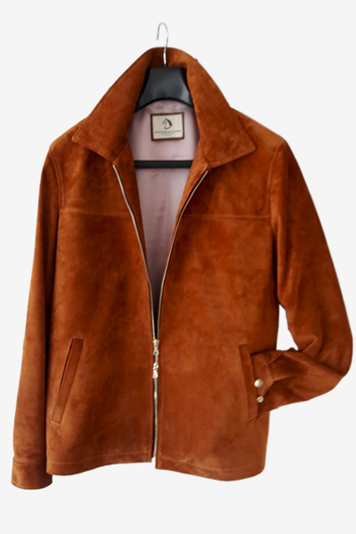 Camel-Colored Cow Suede Leather Jacket