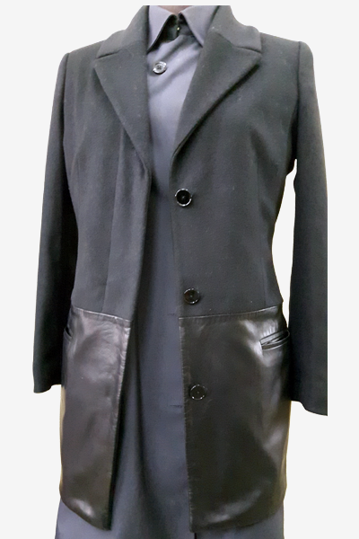 Mixed Suede & Lambskin Leather Trench Coat