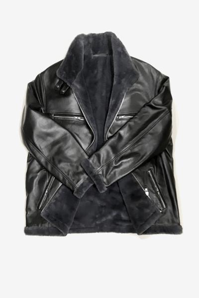 Black Lambskin Jacket with Faux Fur
