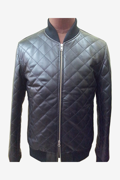 Black Quilted Bomber Leather Jacket