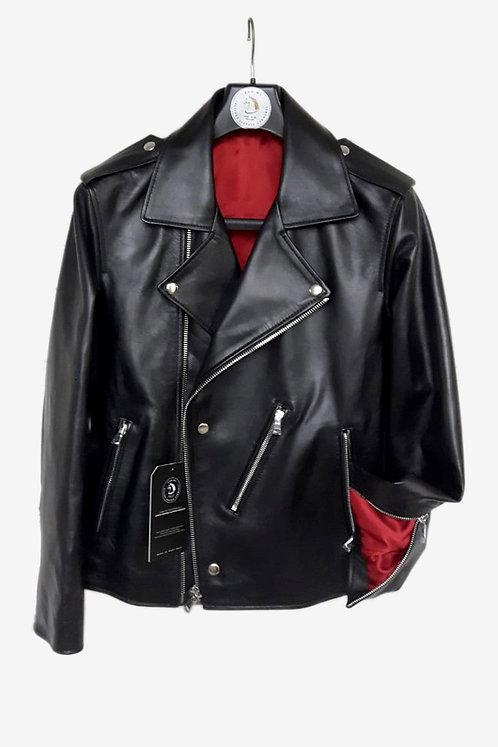 Bespoke Italian Black Lambskin Biker Jacket with Red Lining