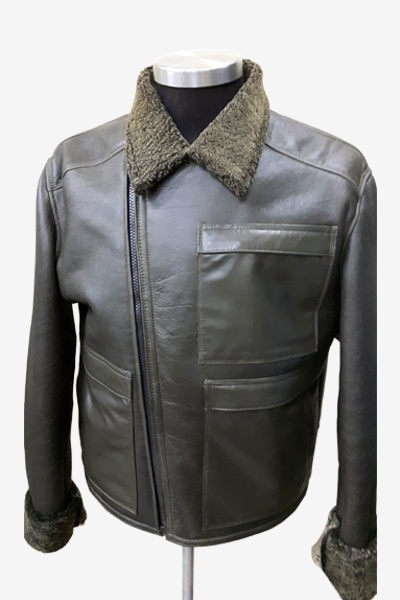 Brown Aviator Leather Jacket with Borg Collar