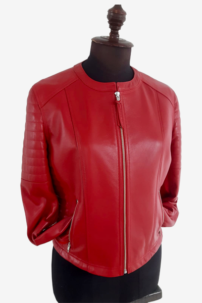 Red Racer Jacket with Padded Sleeves and Waist
