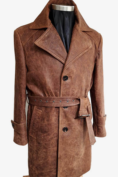 Brown Thick Lambskin Leather Trench Coat