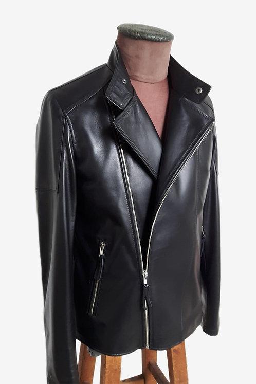 Bespoke Black Italian Lambskin Leather Biker Jacket