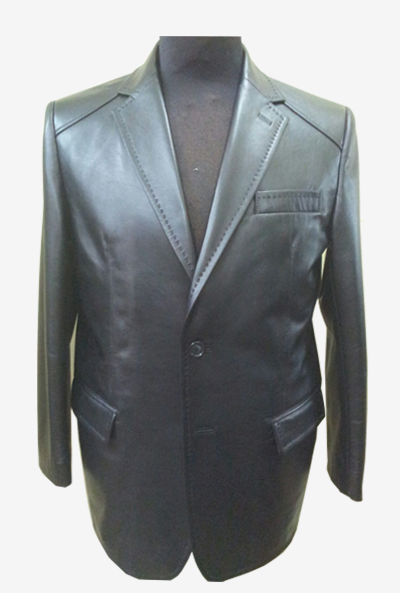 Black Leather Blazer with Hand Stitched Front