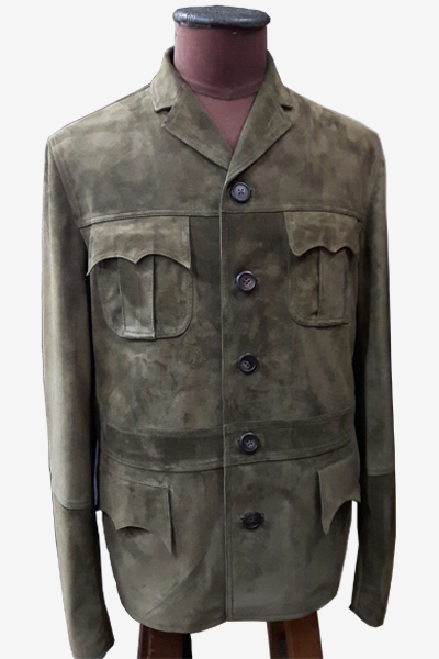 Brown Suede Leather Field Jacket
