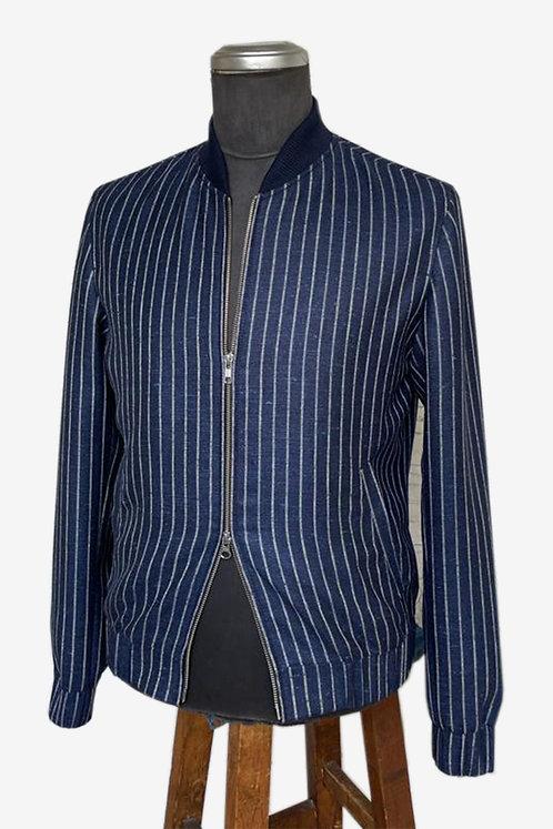Bespoke Navy Blue Straight-striped Linen Bomber Jacket