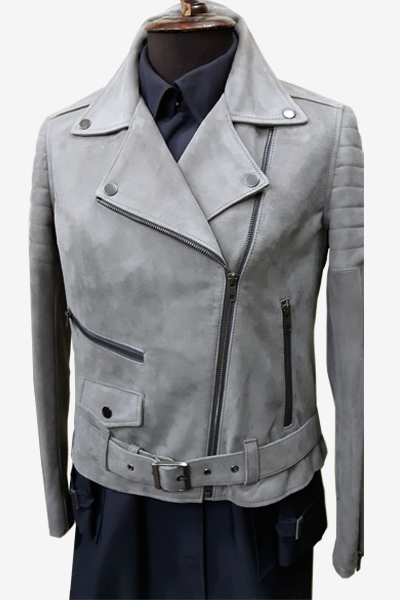 Grey Suede Leather Biker Jacket with Quilted Sleeves and Fasteners
